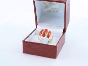 Bague corail rouge et or 750 par 1000 BA-CO-OR-004