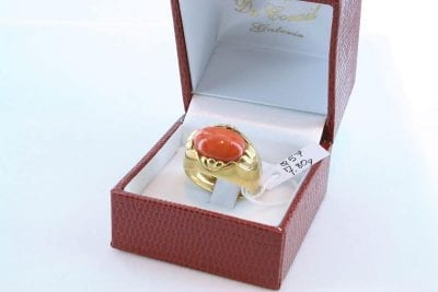 Bague corail rouge et or 750 par 1000 BA-CO-OR-005