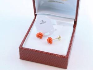 boucles d'oreilles en corail rouge et or 750 par 1000 BO-CO-OR-006
