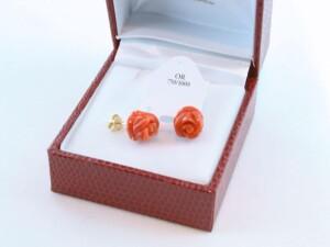 boucles d'oreilles en corail rouge et or 750 par 1000 BO-CO-OR-007