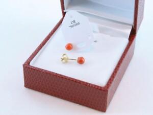 boucles d'oreilles en corail rouge et or 750 par 1000 BO-CO-OR-010