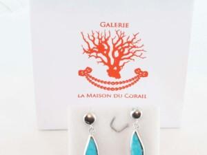 Boucles d'Oreilles en corail et argent 925 1000 BO-TU-AR-001