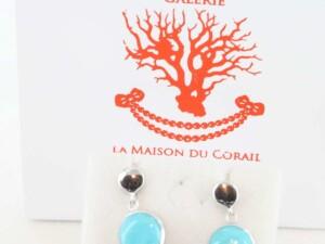 Boucles d'Oreilles en turquoise véritable et argent 925 1000 BO-TU-AR-008