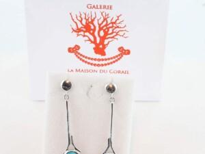 Boucles d'Oreilles en turquoise véritable et argent 925 1000 BO-TU-AR-013