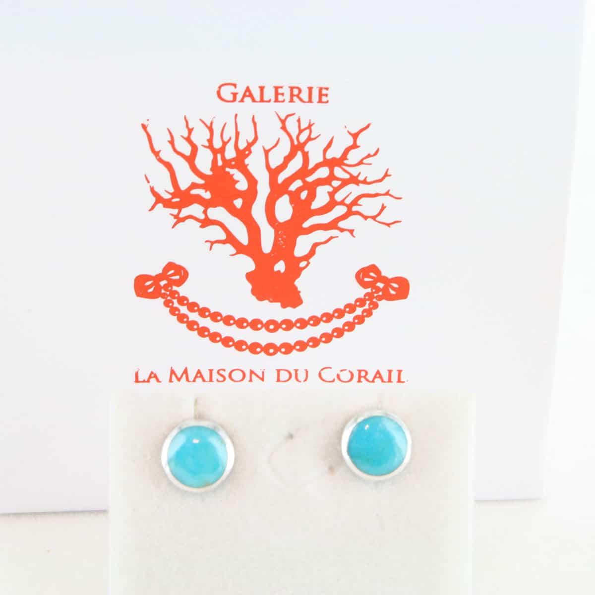 Boucles d'Oreilles en turquoise véritable et argent 925 1000 BO-TU-AR-019