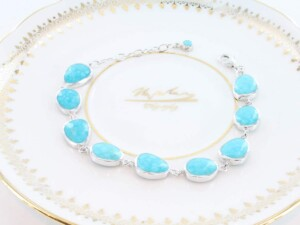 bracelet en turquoise véritable et argent 925 1000 BR-TU-AR-004