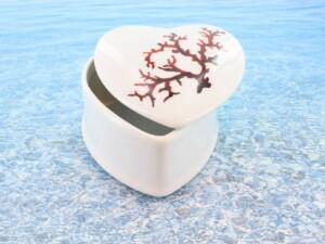 Baguier en porcelaine blanche décor corail PO-BL-CO-003 corail PO-BL-CO-005