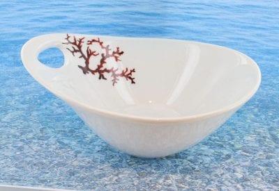 Bol en porcelaine blanche décor corail PO-BL-CO-003 corail PO-BL-CO-014