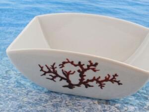 Bol en porcelaine blanche décor corail PO-BL-CO-003 corail PO-BL-CO-019