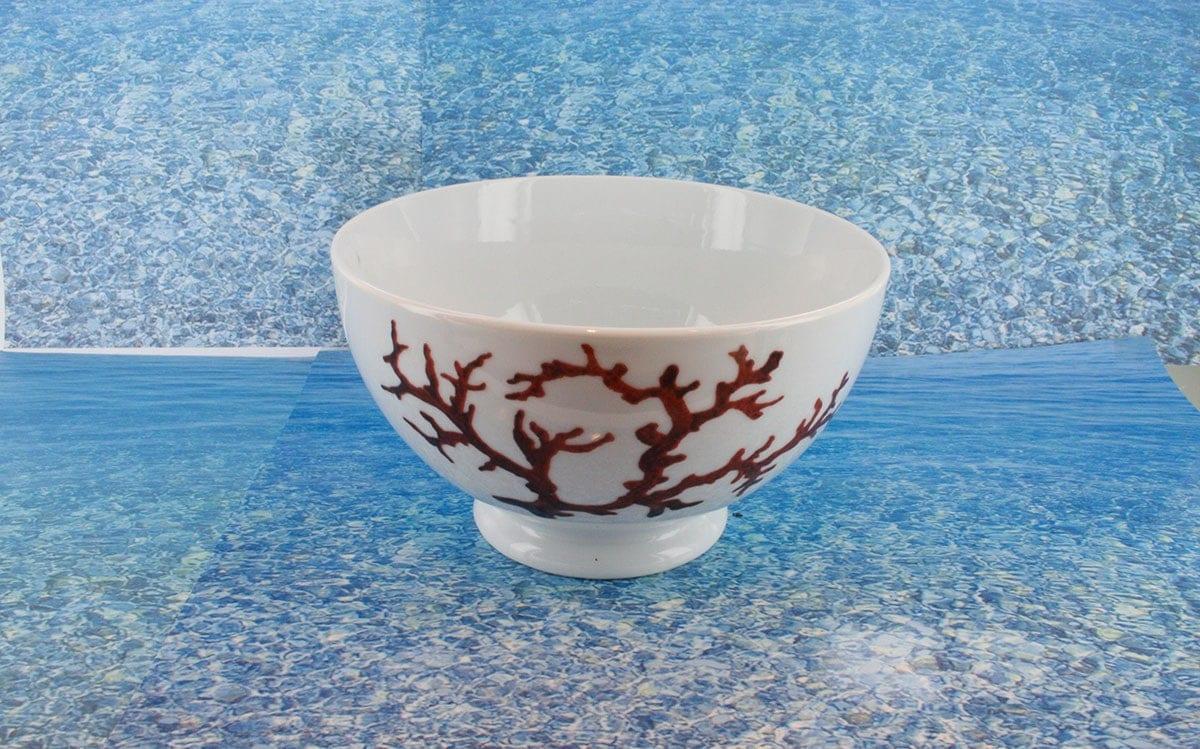 Bol en porcelaine blanche décor corail PO-BL-CO-003 corail PO-BL-CO-022