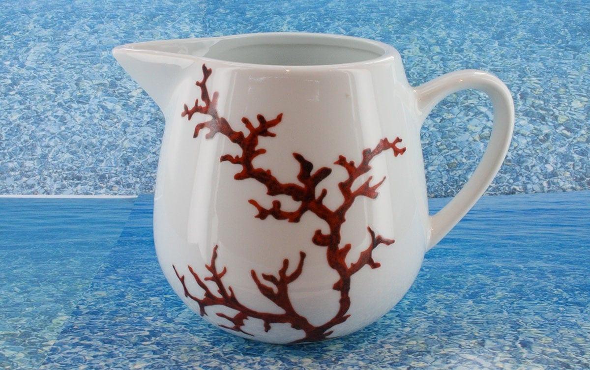 Pot à lait en porcelaine blanche décor corail PO-BL-CO-003 corail PO-BL-CO-025