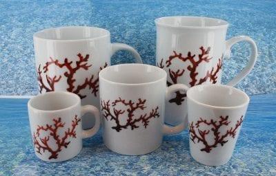 Assortiment 5 chopes en porcelaine blanche décor corail PO-BL-CO-003 corail PO-BL-CO-031