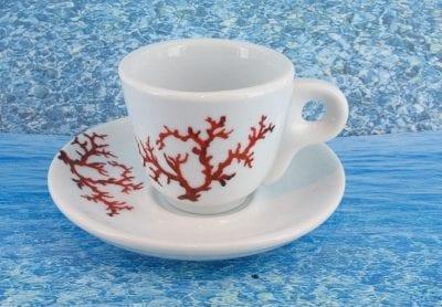 Tasse en porcelaine blanche décor corail PO-BL-CO-003 corail PO-BL-CO-034