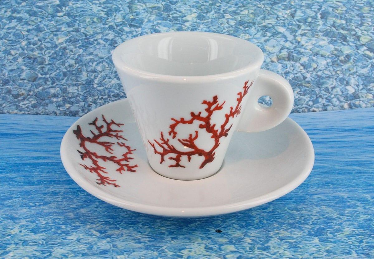 Tasse en porcelaine blanche décor corail PO-BL-CO-003 corail PO-BL-CO-035