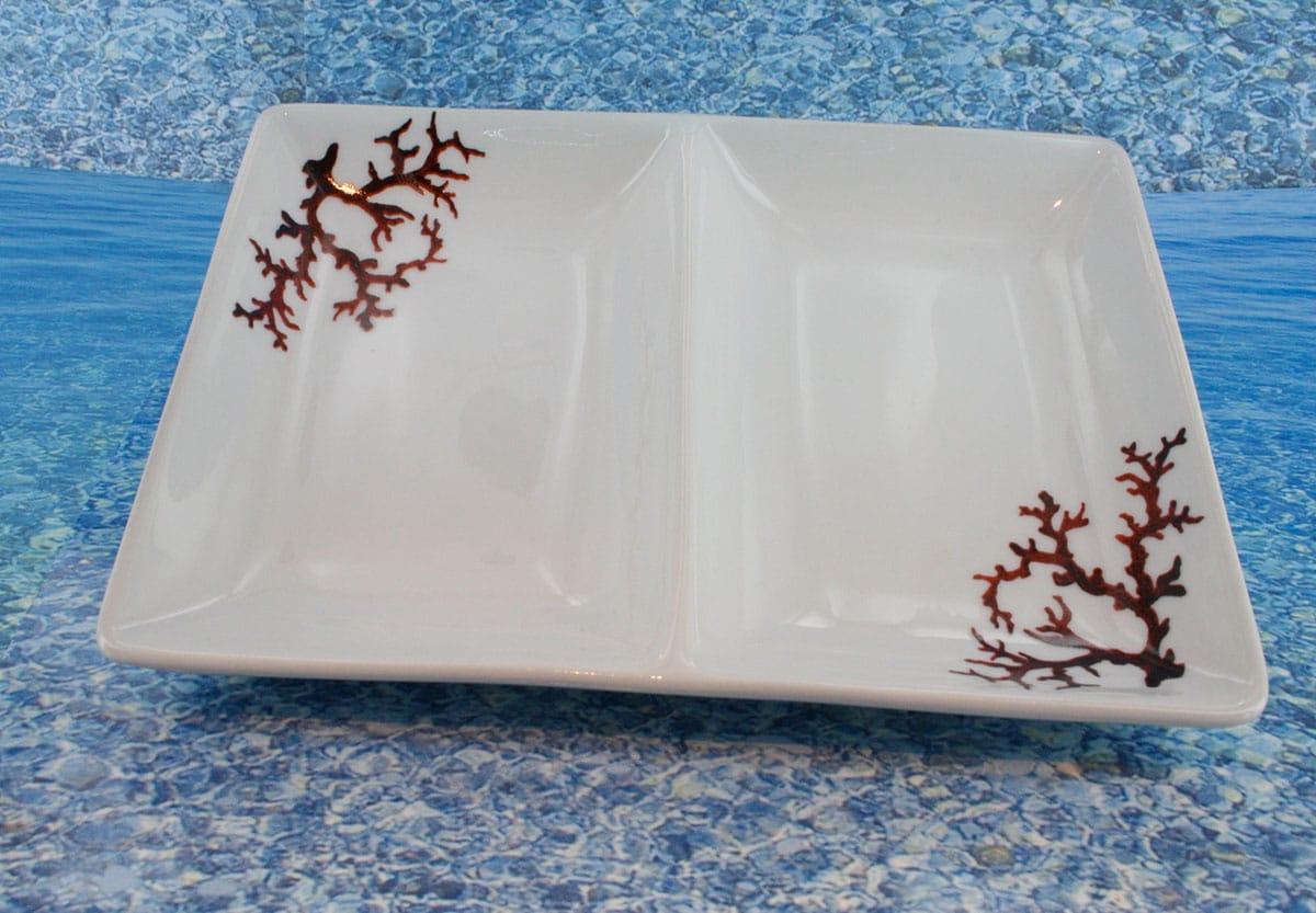 Plat en porcelaine blanche décor corail PO-BL-CO-003 corail PO-BL-CO-038