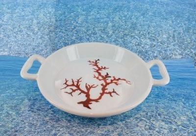 Plat en porcelaine blanche décor corail PO-BL-CO-003 corail PO-BL-CO-039